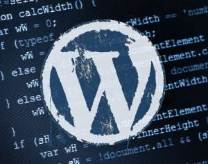 Wordpress logo superimposed over code