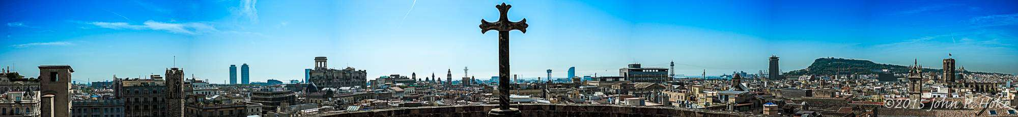 Panoramic view of Barcelona from the top of the Cathedral of Barcelona