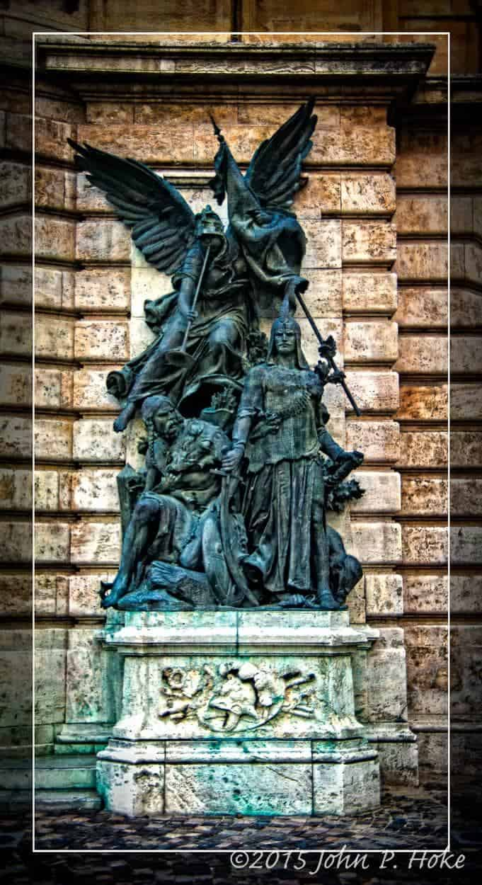 A bronze statue at the Buda Castle Hill Area