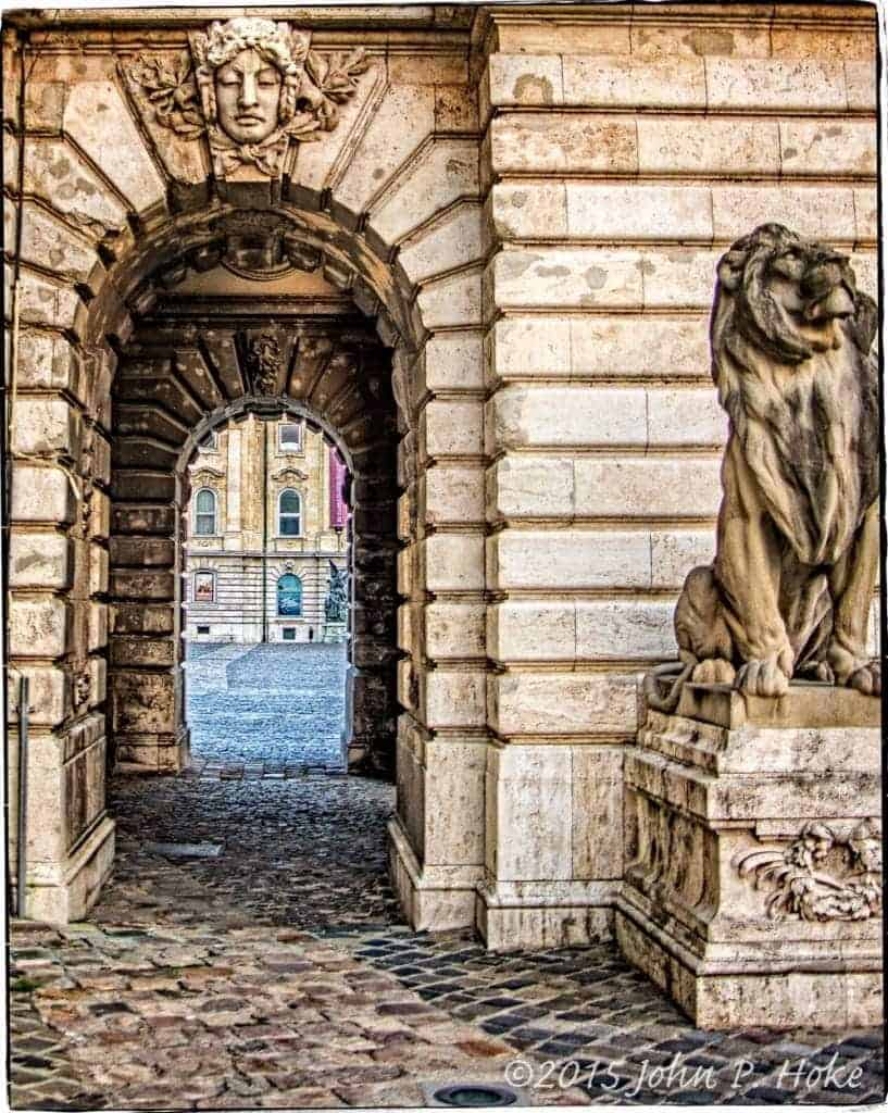 Lion Statue guarding the entranceway to the Budapest Museum of Art and History courtyard.