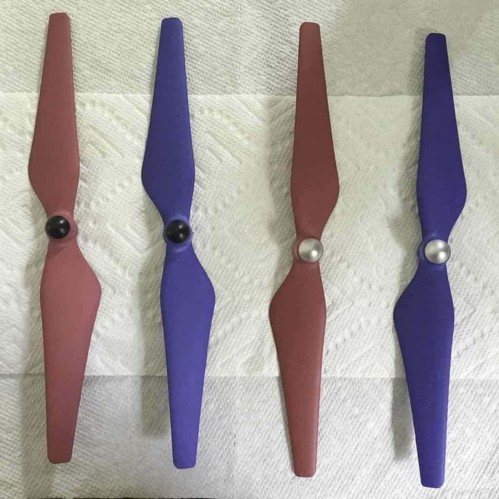 Phantom 3 Propellers Dyed Blue and Red with RIT Dye