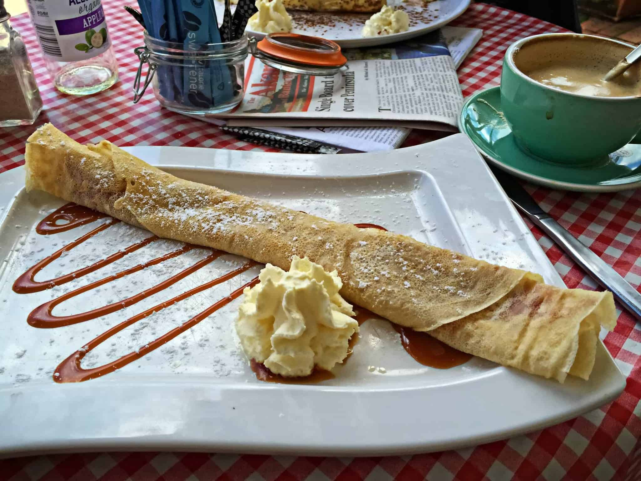 Caramel Crepes and Cafe au Lait