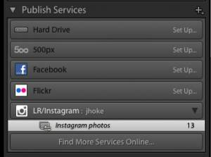 Lightroom Publish Services panel showing the LR/Instagram setup and in use