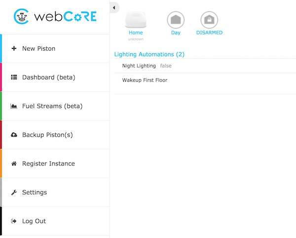 WebCoRE Dashboard