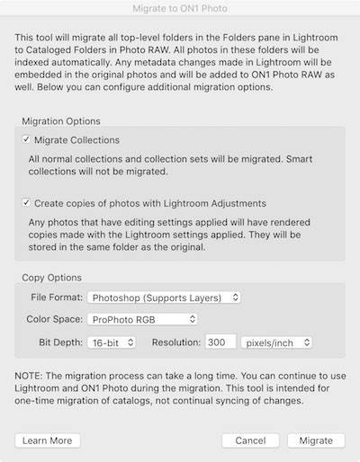 Lightroom to On1 Photo Migration Dialog Box