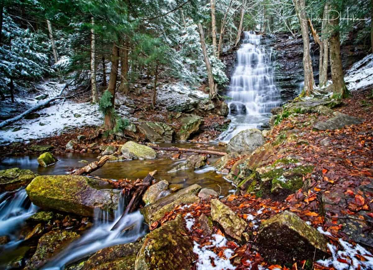 Long Exposure shot of Bear Creek Falls in the Pocono Mountains, Pennsylvania