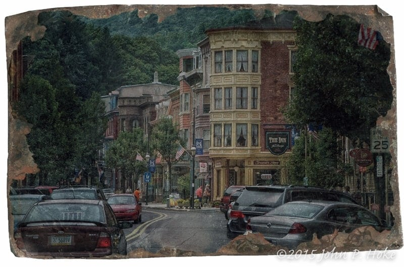 Broadway in Jim Thorpe, stylized to appear antique