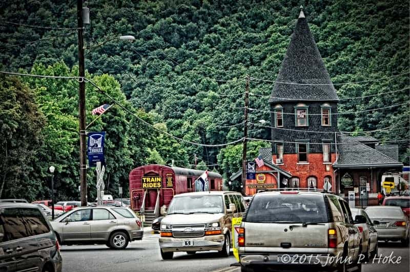View of Jim Thorpe train station driving in from the bridge
