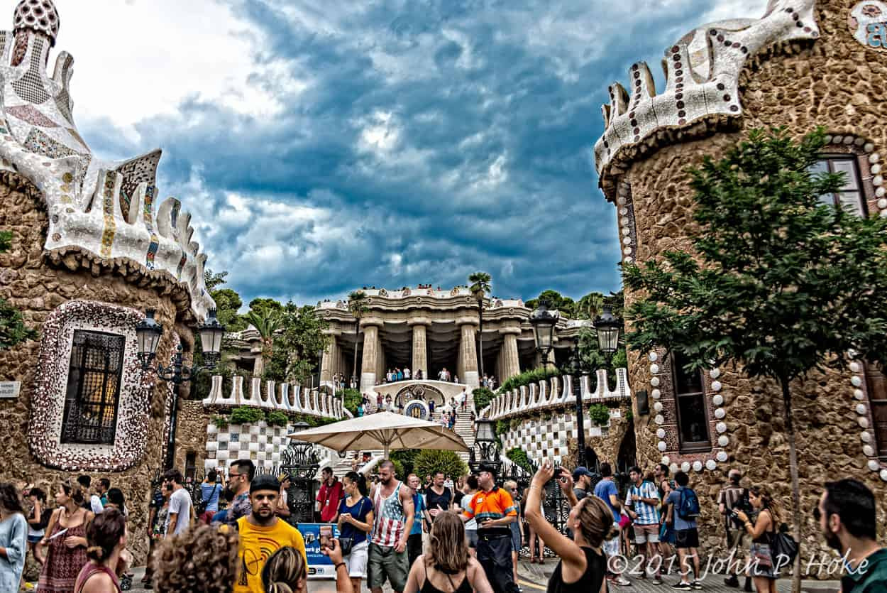A shot of the entrance of Park Güell in Barcelona - a park designed by Gaudi in Barcelona, Spain