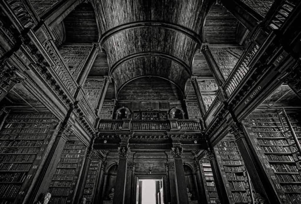 Black and White HDR Image of Trinity College Library, Dublin Ireland