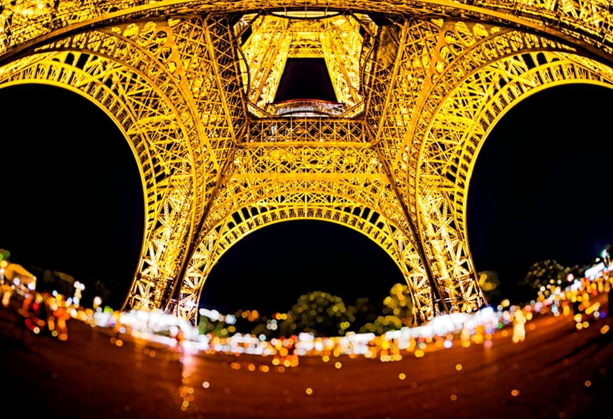 An image of the Eiffel Tower taken with a 15mm fisheye lens