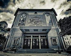 black and white HDR image of the Mauch Chunk Opera House, Jim Thorpe Pennsylvania in the Pocono Mountains