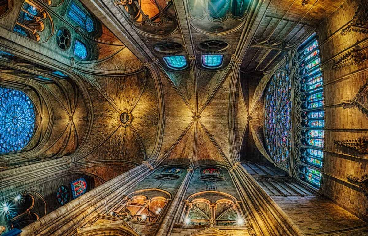 HDR Image of the ceiling inside Notre Dame Cathedral - Paris France