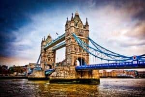 HDR Image of Tower Bridge over the Thames River, London