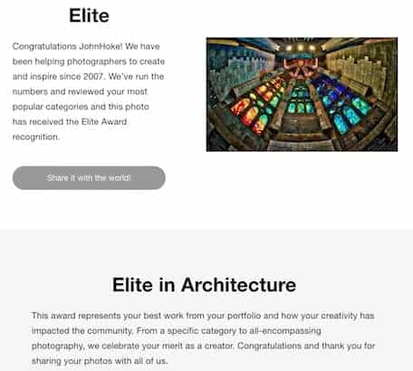 ViewBug notification of the Elite in Architecture recognition of my photo of Sagrada Familia