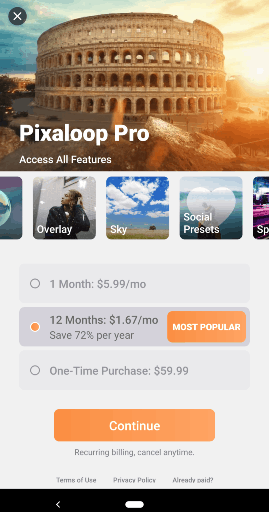 Pixaloop Pro plans - screenshot