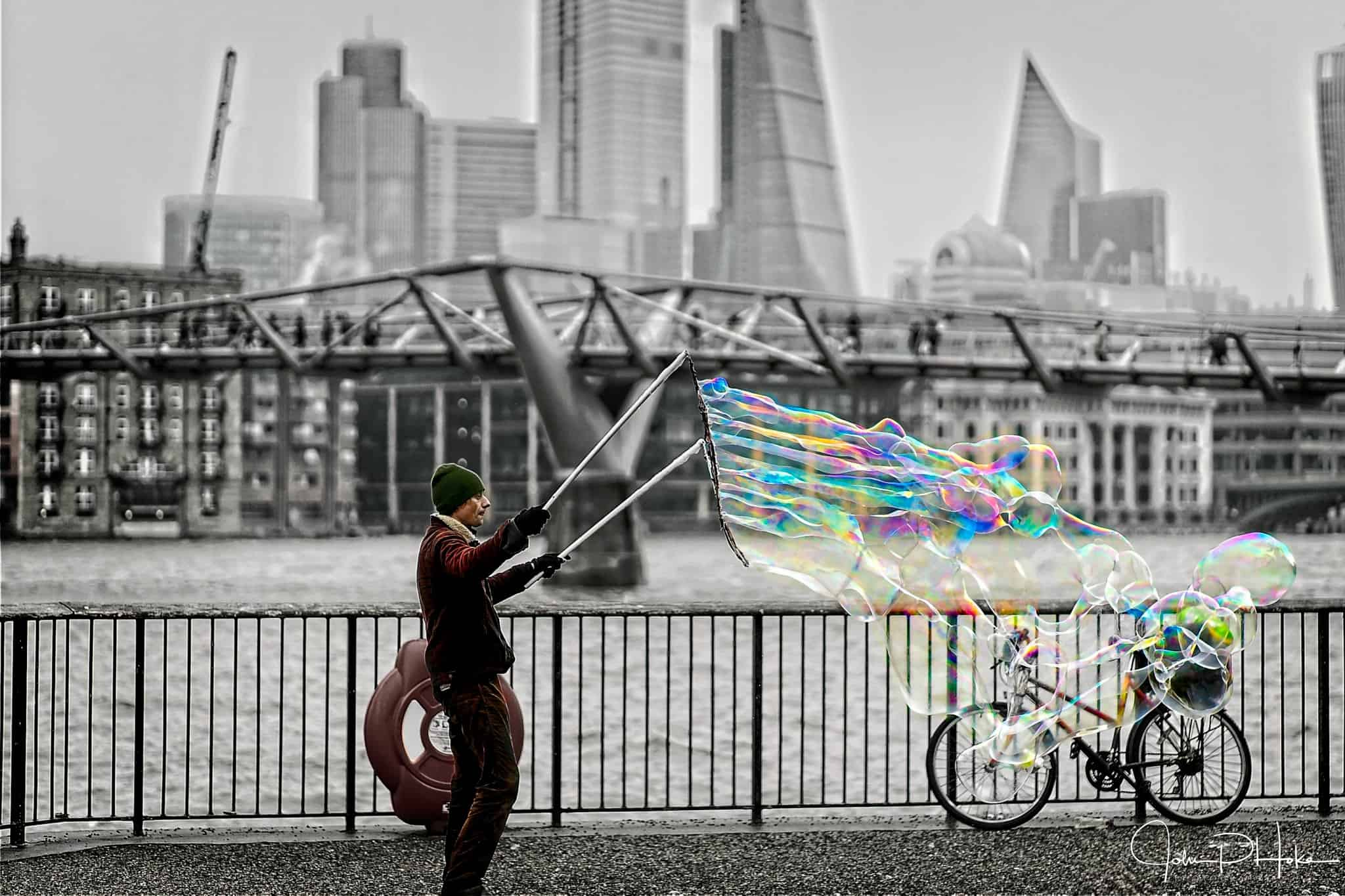 Bubbles on the River Thames, London, United Kingdom