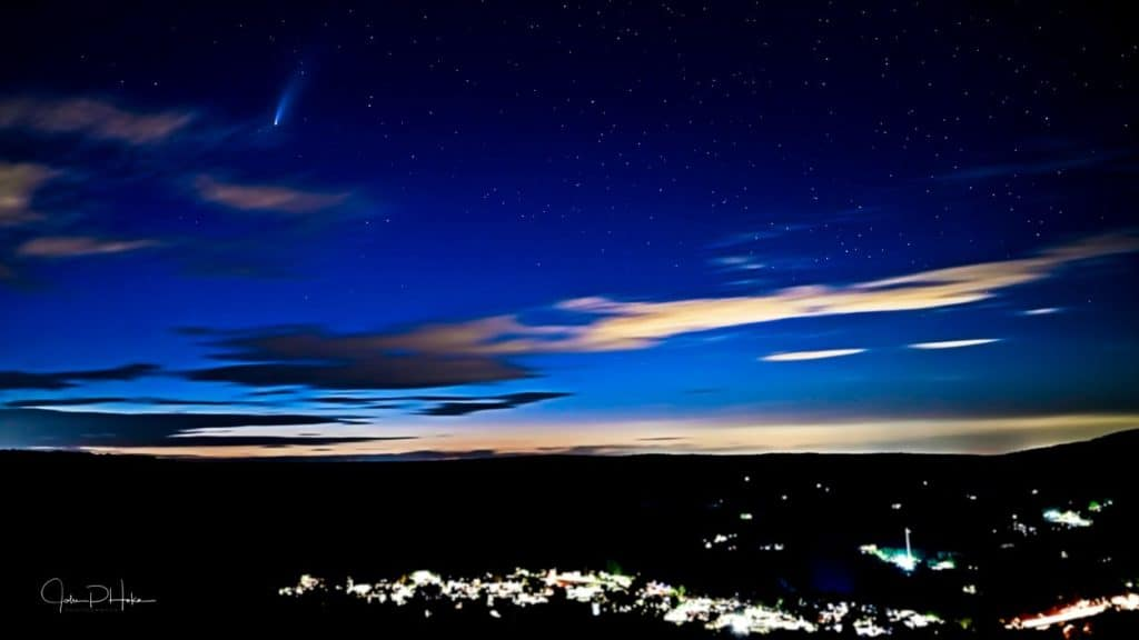 Comet Neowise seen in the upper left of the photo. Taken at Flagstaff Overlook, Jim Thorpe, Pennsylvania