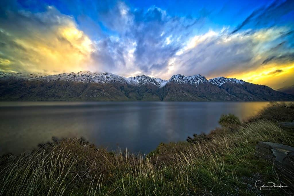 Sunset over the Remarkables in New Zealand, 2019