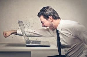 So many security problems a man punches through his laptop screen